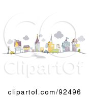 Royalty Free RF Clipart Illustration Of A Road Leading To A Busy City by BNP Design Studio