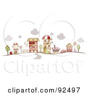 Royalty Free RF Clipart Illustration Of A Road Leading To Downtown Buildings