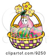 Vase Of Flowers Mascot Cartoon Character In An Easter Basket Full Of Decorated Easter Eggs