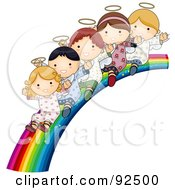 Royalty Free RF Clipart Illustration Of A Group Of Cute Angels Waving And Riding Down A Rainbow Slide