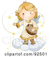 Royalty Free RF Clipart Illustration Of A Cute Blond Angel On A Cloud Putting Stars In The Sky by BNP Design Studio