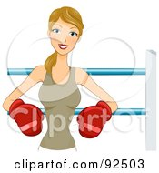 Royalty Free RF Clipart Illustration Of A Dirty Blond Woman In Boxing Gloves Leaning Against The Boxing Ring by BNP Design Studio