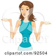Shrugging Brunette Woman by BNP Design Studio