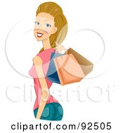 Royalty Free RF Clipart Illustration Of A Dirty Blond Woman Holding Shopping Bags Over Her Shoulder