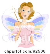 Royalty Free RF Clipart Illustration Of A Dirty Blond Fairy Woman Holding A Magic Wand