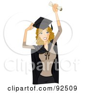 Royalty Free RF Clipart Illustration Of A Dirty Blond Graduate Woman Holding Up A Diploma