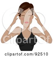 Woman Rubbing Her Sore Forehead To Ease A Migraine