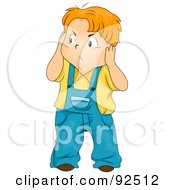 Royalty Free RF Clipart Illustration Of An Annoyed Boy Covering His Ears From Noise by BNP Design Studio