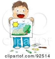 Royalty Free RF Clipart Illustration Of A Brunette Boy Showing Off His Drawing