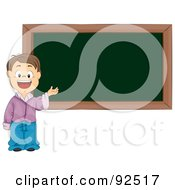 Royalty Free RF Clipart Illustration Of A Smart School Boy Presenting By A Blank Chalk Board