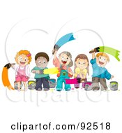 Royalty Free RF Clipart Illustration Of A Group Of Happy Diverse Children Painting With Different Colors by BNP Design Studio