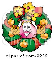 Vase Of Flowers Mascot Cartoon Character In The Center Of A Christmas Wreath