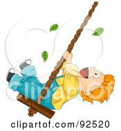 Royalty Free RF Clipart Illustration Of A Leaves Falling Around A Boy Playing On A Swing by BNP Design Studio