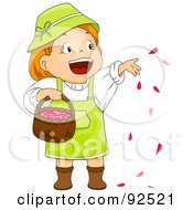 Royalty Free RF Clipart Illustration Of A Little Girl Throwing Rose Petals