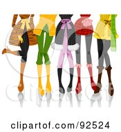 Legs Of Fashionable Ladies In Winter Clothes