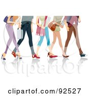 Royalty Free RF Clipart Illustration Of Legs Of Walking College Students by BNP Design Studio
