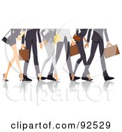 Royalty Free RF Clipart Illustration Of Legs Of Professional Men And Women Walking by BNP Design Studio