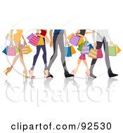 Royalty Free RF Clipart Illustration Of Legs Of Shopping Adults