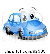 Blue Car Character With A Flat Tire
