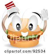 Royalty Free RF Clipart Illustration Of A Friendly Hamburger Character Sticking A Flag In His Bun by BNP Design Studio
