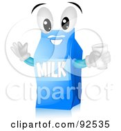 Royalty Free RF Clipart Illustration Of A Friendly Blue Milk Carton Character