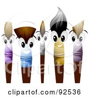 Royalty Free RF Clipart Illustration Of Friendly Paint Brush Characters Smiling by BNP Design Studio