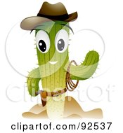 Royalty Free RF Clipart Illustration Of A Cowboy Cactus Character Waving by BNP Design Studio