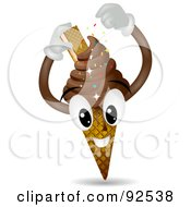 Chocolate Ice Cream Cone Character With A Cookie And Sprinkles