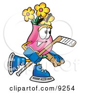 Clipart Picture Of A Vase Of Flowers Mascot Cartoon Character Playing Ice Hockey