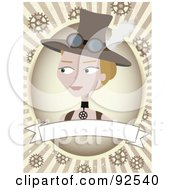 Royalty Free RF Clipart Illustration Of A Steampunk Woman Over A Blank Banner Over Rays And Gears