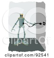 Royalty Free RF Clipart Illustration Of A Robot Plugging Himself Into A Wall To Charge by mheld