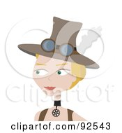 Royalty Free RF Clipart Illustration Of A Steampunk Woman Wearing A Feathered Hat by mheld