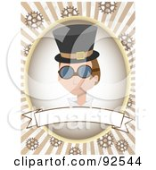 Royalty Free RF Clipart Illustration Of A Steampunk Man Over A Blank Banner Over Rays And Gears