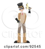 Royalty Free RF Clipart Illustration Of A Steampunk Man Holding Up A Gun by mheld