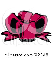 Royalty Free RF Clipart Illustration Of A Pink Birthday Gift Bow by Andy Nortnik