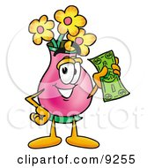 Vase Of Flowers Mascot Cartoon Character Holding A Dollar Bill