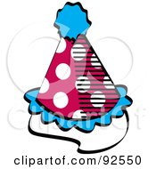Royalty Free RF Clipart Illustration Of A Spotted Red White And Blue Party Hat by Andy Nortnik