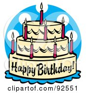 Royalty Free RF Clipart Illustration Of A Triple Tiered Birthday Cake With Candles by Andy Nortnik
