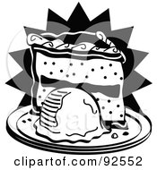 Royalty Free RF Clipart Illustration Of A Black And White Slice Of Cake And Ice Cream by Andy Nortnik