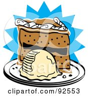 Royalty Free RF Clipart Illustration Of A Slice Of Birthday Cake And Ice Cream by Andy Nortnik