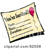Royalty Free RF Clipart Illustration Of A Youre Invited Birthday Party Invitation by Andy Nortnik