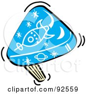 Royalty Free RF Clipart Illustration Of A Blue Rocket Party Noise Maker by Andy Nortnik