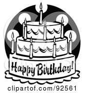 Royalty-Free (RF) Clipart Illustration of a Black And White Tiered Birthday Cake With Candles by Andy Nortnik