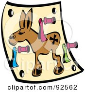 Royalty Free RF Clipart Illustration Of A Pin The Tail On The Donkey Game by Andy Nortnik