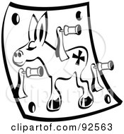 Royalty Free RF Clipart Illustration Of A Black And White Pin The Tail On The Donkey Game by Andy Nortnik
