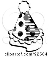 Royalty Free RF Clipart Illustration Of A Spotted Black And White Party Hat by Andy Nortnik