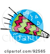 Royalty Free RF Clipart Illustration Of A Pink And Green Party Horn Over A Blue Circle by Andy Nortnik