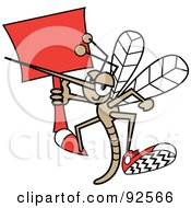 Mosquito Flying With A Red Sign