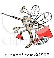 Mosquito Flying With A Red Bag