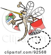 Shopping Mosquito Flying With Credit Cards And A Red Bag